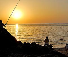 天然ビーチ&夕日